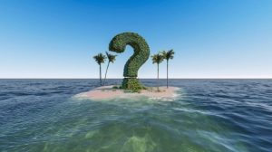 question mark on an island
