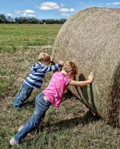 kids pushing a big hay bale