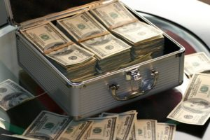 image of money in a suitcase