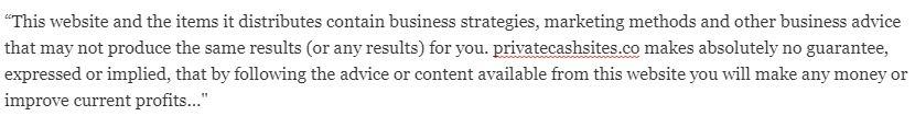 private cash sites disclaimer 1