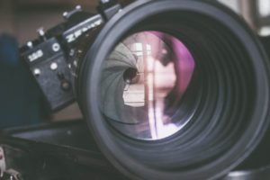 closeup of a camera lens
