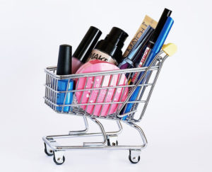 shopping cart with beauty products